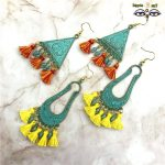 Summer New Woman <b>Antique</b> Bronze Green Silk Thread Tassel Earrings, Bohemia Island Holiday Earrings <b>Jewelry</b>