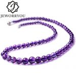 4.5-11mm 51cm A+ Natural Stone Necklace Amethyst 925 <b>Sterling</b> <b>Silver</b> Necklace Women <b>Jewelry</b> Long Necklace Couple Pendants