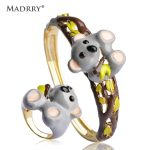 Madrry Alloy Metal Cartoon Bear <b>Jewelry</b> Sets Bangle&Ring For Women Kids Enamel Polish Wrist <b>Accessories</b> Masculino Bijoux Cute
