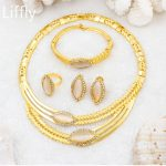Europe and The United States Fashion Design 24 Gold <b>Jewelry</b> Sets Crystal Necklace Ring Earrings Charm Women Wedding <b>Accessories</b>