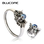 Blucome New Arrival Vintage Stereo Elephant Shape Bangle Ring Sets Sea Blue Crystal <b>Jewelry</b> Set For Women Lady Party <b>Accessories</b>