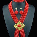 2016 Red weding <b>accessories</b> nigerian wedding african beads bridal Imitation pearl <b>jewelry</b> women <b>jewelry</b> set necklace earrings