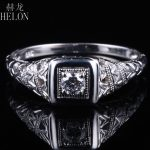HELON Round 3mm Moissanites Engagement Ring Solid 10k White Gold Moissanites Vintage Antique Style Wedding Ring <b>Art</b> <b>Deco</b> <b>Jewelry</b>