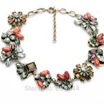 Fashion Retro Wholesale <b>Jewelry</b> Hot Resin Flowers Crystal Choker Vintage <b>Antique</b> Gold Color Necklaces for Women