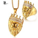 Men's Punk Lion Head <b>Jewelry</b> Sets Gold Tone Stainless Steel Rings and Necklace Set Male Boy Hiphop <b>Accessories</b>