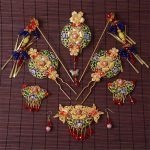 Chinese Wedding <b>Jewelry</b> Sets Golden Bridal Headdress Cloisonne Hair <b>Accessories</b> Golden Alloy Red Crystal Hairpins Earrings