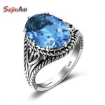 Szjinao Women Wedding Band <b>Antique</b> Ring 100% Solid 925 Sterling Silver Blue Topaz Engagement Ring Bridal <b>Jewelry</b> Factory Price
