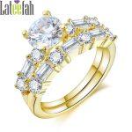 Lateefah Vintage Luxury Women <b>Jewelry</b> Ring Set Two Rings in One Gold Color Cubic Zirconia <b>Art</b> <b>Deco</b> Wedding <b>Jewelry</b> for Women