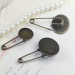 50pcs/Lot 13*18mm,18*25mm Brooches <b>Antique</b> Bronze vintage cabochon pin base blank settings diy handmade <b>jewelry</b>
