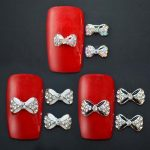 ZKO Hot selling 3Pcs/set Nail <b>Art</b> Tips Stickers <b>Deco</b> Bow Knot Alloy <b>Jewelry</b> Multicolor Glitter Rhinestone nail <b>art</b> decorations