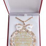 "Birthday present / gift. Glittering <b>jewelry</b> Bowknot rhinestone necklace letter pendant MEDALS.The velvet box ""medal ceremony. 50"