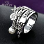 Mytys Key and Lock Ring Pearl Adorns <b>Antique</b> Yellow GP Fashion Rings for Women Gift <b>Jewelry</b> R317