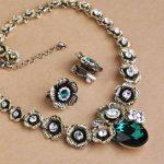 Blucome Vintage Turkish Necklace Earrings <b>Jewelry</b> Set Flower Shape Green Crystal Bijoux Women Banquet Party Choker <b>Accessories</b>