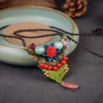 Pink Stone Pendant Beads Flower Decoration <b>Antique</b> Bronze Collar Necklace Women Braided Rope Necklace China Ethnic <b>Jewelry</b>