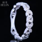 HELON Solid 10k (417) White Gold Genuine Natural Diamonds <b>Art</b> <b>Deco</b> Milgrain Engagement Wedding Women Trendy Fine <b>Jewelry</b> Ring