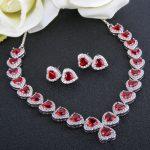 Bella Fashion Elegant Heart Bridal Necklace Earrings Set Cubic Zircon <b>Jewelry</b> Set For Wedding <b>Accessory</b> Party <b>Jewelry</b> Valentine