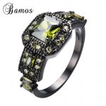 Bamos <b>Antique</b> <b>Jewelry</b> Peridot Zircon Rings For Female Male Black Gold Filled Wedding Party Engagement Finger Ring Bijoux RB1273