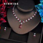 HIBRIDE Elegant Design Red Cubic Zircon <b>Jewelry</b> Sets For Women Necklace Set Fashion Dress <b>Accessories</b> Engagement Gift N-518