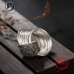 100% S925 sterling <b>Antique</b> silver studded marcel stone ring ladies high fashion ladies burst Ring for Women <b>Jewelry</b>
