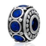 13.3*9.5mm Blue Zircon Pave <b>Antique</b> Tone 925 Sterling Silver Spacer Beads Fit European Charm Bracelet Necklace <b>Jewelry</b> SZPB207