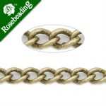 4.8MM*3.2MM Brass <b>Antique</b> Brozen Plated Twist Oval Chain,Handmade,Sold 25 Meters Per Roll