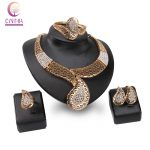 African Beads Rhinestone <b>Jewelry</b> Sets Summer Style gold color Bridal Wedding <b>Accessories</b> Necklace Bangle Earrings Rings Set