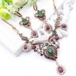 Gorgeous Vintage Women Flower <b>Antique</b> Gold Color Lace Crystal <b>Jewelry</b> Turkish Resin Drop Necklace Arabia Bridal Wedding <b>Jewelry</b>