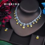 HIBRIDE Sparkling Yellow Cubic Zirconia <b>Jewelry</b> Sets For Women Earring Necklace Set Wedding Dress <b>Accessories</b> Party Gifts N-482