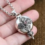 Real Silver 925 Amulet Box Charms Pendant Vajra Cross Set Red Stone Solid 925 Sterling Silver <b>Jewelry</b> Men Women Lucky <b>Accessory</b>