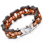 New Brand Rock Punk Motorcycle Bracelet Vintage Bike Bracelets Bangle Antique Orange Black 2017 Famous Fashion <b>Jewelry</b> <b>Accessory</b>