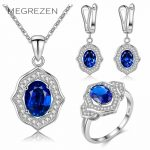 MEGREZEN Bridal Silver <b>Jewelry</b> Sets Wedding <b>Accessories</b> Royal Blue Earring Ring Necklace With Stones Bijouterie Female Ys006-5