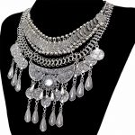 Boho <b>Antique</b> Silver Fashion Choker Necklaces & Pendants Coins Tassel Crystal Carved Flower Bib Statement Necklace Women <b>Jewelry</b>