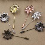 40pcs/Lot 29mm flower pedal Brooches <b>Antique</b> Bronze/Silver/Gold vintage cabochon pin base blank settings diy handmade <b>jewelry</b>