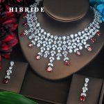 HIBRIDE Luxury Red Water Drop Cubic Zirconia <b>Jewelry</b> Set For Bride Flower Shape Necklace Set Wedding <b>Accessories</b> Wholesale N-497