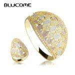 Blucome Luxury Wide Large Bangle Ring Set Wedding Party Big Bangles <b>Jewelry</b> Sets Full Rhinestones Copper Hand <b>Accessories</b> Anel