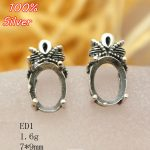 100% 925 Sterling Silver Blank Ear Stud <b>Jewelry</b> with Fit 7*9mm <b>Antique</b> Bronze Base Tray for diy Earrings