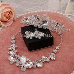 3 PCS Wedding necklace bridal headdress butterfly crystal necklace earrings tiara <b>jewelry</b> sets women prom <b>accessories</b>