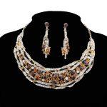 Bridal <b>jewelry</b> sets Wedding necklace earrings set rhinestone brown Color <b>Jewelry</b> Women Christmas Gift Dress <b>Accessories</b>