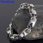 TrustyLan Stainless Steel Mens Friendship Bracelets Punk & Hippe's Skulls Chain Bracelet Masculine <b>Jewelry</b> Halloween <b>Accessories</b>
