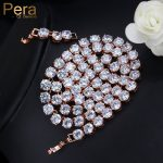 Pera Hot Selling Luxury Bridal Rose Gold Color Big Round 0.6ct Hearts & Arrows Choker Necklace For <b>Jewelry</b> <b>Accessories</b> P024