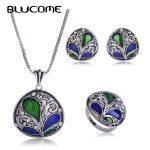 Blucome Dubai Green Necklace Earrings Ring <b>Jewelry</b> Set Crystal Pendant Plant Shape Enamel <b>Accessories</b> Women Banquet Party Bijoux