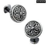 HAWSON <b>Jewelry</b> French Shirt Retro Cufflinks <b>Antique</b> Silver Wave Flower Cuff Link Button