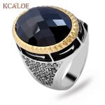 KCALOE Retro Oval Big Black Stone Ring Vintage <b>Jewelry</b> <b>Antique</b> Silver Color Alloy Rhinestone Finger Rings For Women Men Ringen
