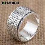 BALMORA Solid 999 Pure Silver Buddhistic Heart Sutra Rings for Women Men Gift Silver Ring Religious <b>Jewelry</b> <b>Accessories</b> SY21727