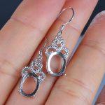 <b>Art</b> <b>Deco</b> 925 Sterling Silver Fashion Chandelier Drop Hook Earrings 7X9mm Oval Semi Mount for Gemstone Fine <b>Jewelry</b>
