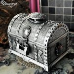 Big Size Metal Tumblebug Home Decoration Box with Lock 2 Layers Vintage <b>Jewelry</b> Box Carrying Case Trinkets Packaging for Ring