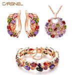 CARSINEL Necklace&Bracelet&Earring Fashion <b>Jewelry</b> Sets Rose Gold-color with Shining CZ Zircon <b>Accessories</b> for Bridal JS0070
