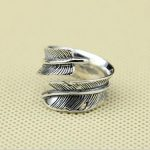 Vintage Indian Feather Ring Men Women Solid 925 Sterling Silver Cuff Ring Handmade Black <b>Antique</b> Silver 925 <b>Jewelry</b> Top Quality