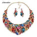 Xiacaier Nigerian Wedding African Beads <b>Jewelry</b> Sets Crystal Necklace Sets Gold Color Statement <b>Jewelry</b> India <b>Accessories</b> Party