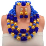 Women Wedding African Beads New <b>Jewelry</b> Sets Gold-color Blue Crystal Pendant Necklace Earrings Party <b>Accessories</b>
